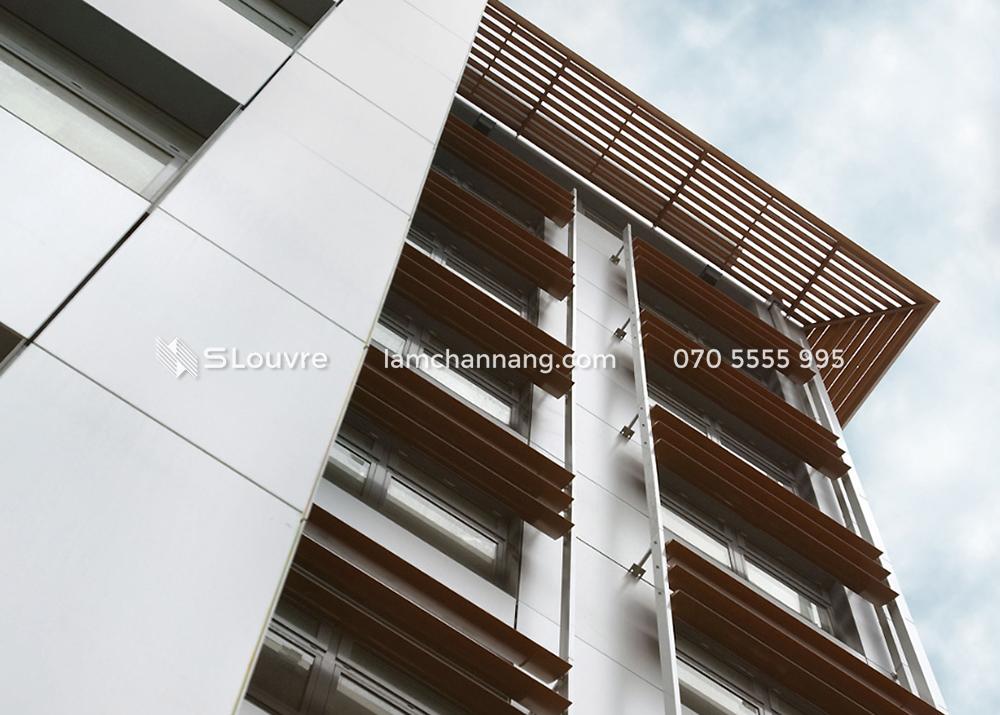 lam chắn nắng, lam nhôm, sun louvre, aluminium louvre, chắn nắng vân gỗ, lam nhôm vân gỗ, wooden grain louvre