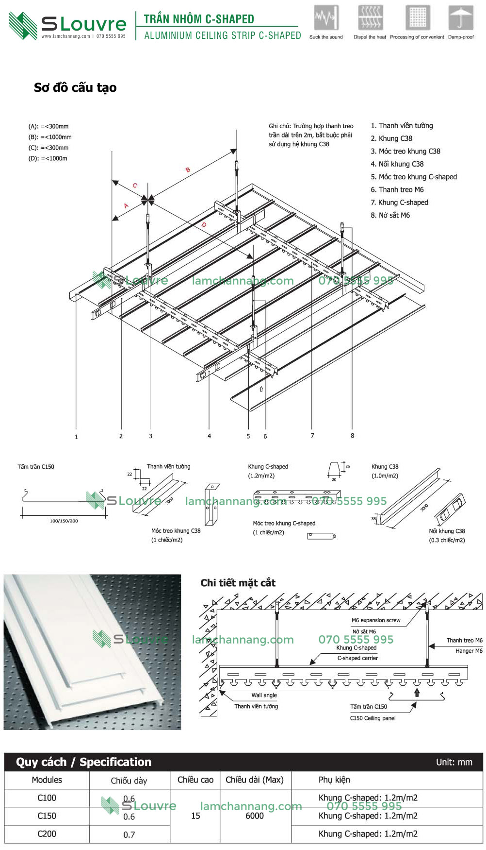 C-shapep Linear Strip Ceiling, Perforated Metal Ceiling, perforated aluminium ceiling, aluminium ceiling, trần nhôm sọc C, trần sọc C, trần nhôm chữ C, trần nhôm C-Shaped